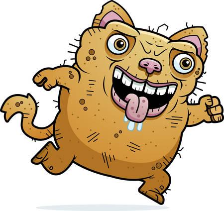 monstrous: Un fumetto illustrazione di un gatto in esecuzione brutto.