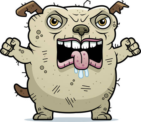 A cartoon illustration of an ugly dog looking angry.