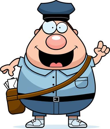 mailman: A cartoon illustration of a mailman with an idea.