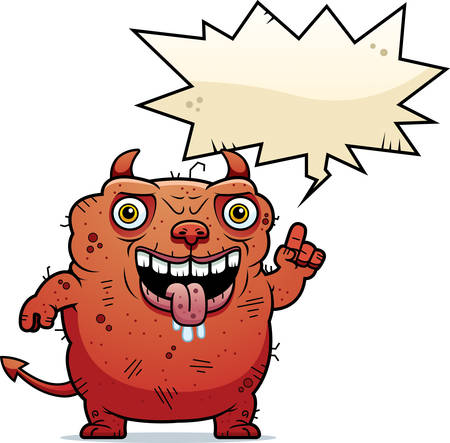 beastly: A cartoon illustration of an ugly devil talking.