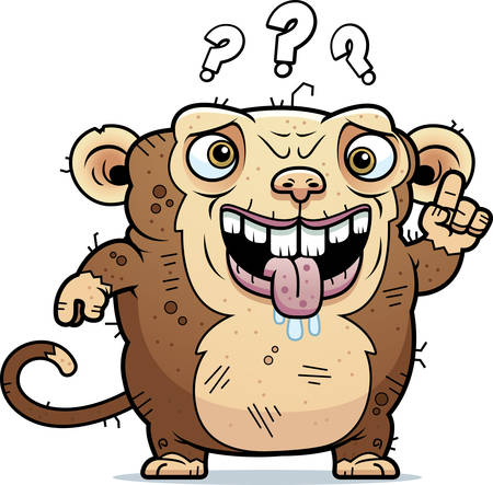 beastly: A cartoon illustration of an ugly monkey looking confused.