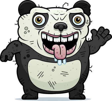 monstrous: A cartoon illustration of an ugly panda bear waving.