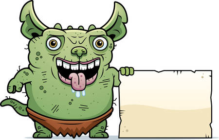 gremlin: A cartoon illustration of an ugly gremlin with a sign.