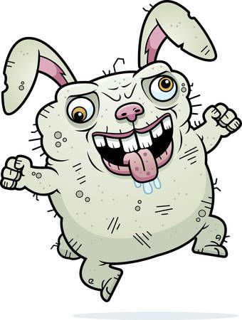 beastly: A cartoon illustration of an ugly bunny looking crazy.