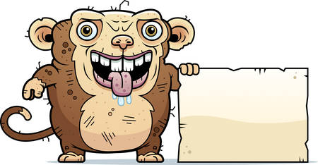 hideous: A cartoon illustration of an ugly monkey with a sign.