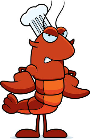 A cartoon illustration of a crawfish chef looking angry. Illustration