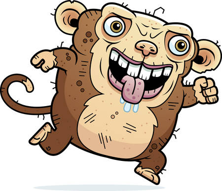 hideous: A cartoon illustration of an ugly monkey running.