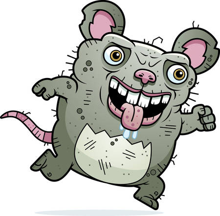 beastly: A cartoon illustration of an ugly rat running.