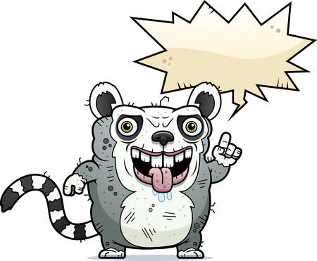 drooling: A cartoon illustration of an ugly lemur talking.