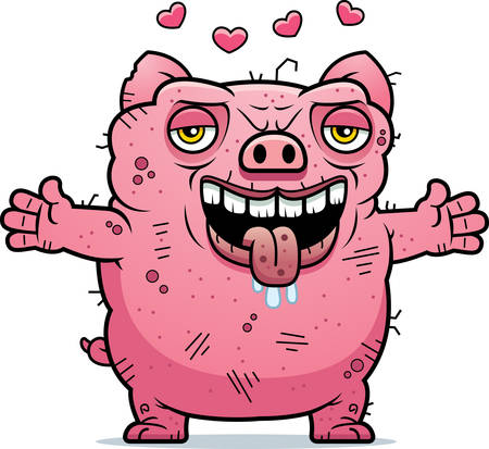 A cartoon illustration of an ugly pig ready to give a hug.