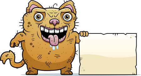 hideous: A cartoon illustration of an ugly cat with a sign.