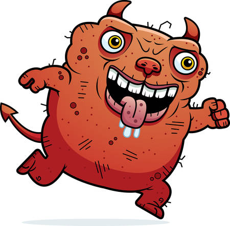 hideous: A cartoon illustration of an ugly devil running.