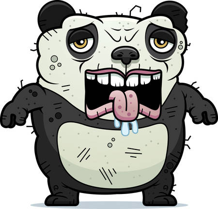 beastly: A cartoon illustration of an ugly panda bear looking tired.
