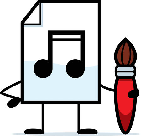 A cartoon illustration of an audio file with a paintbrush. Çizim