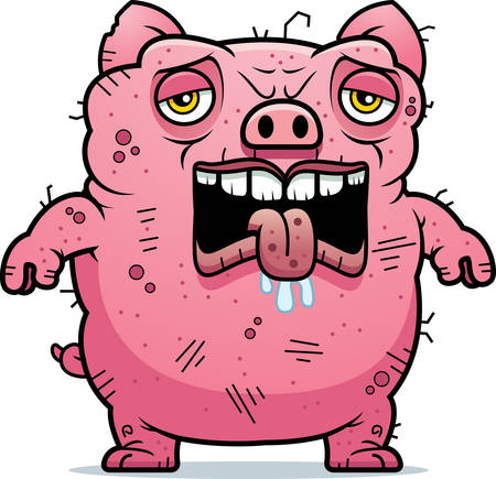 beastly: A cartoon illustration of an ugly pig looking tired. Illustration