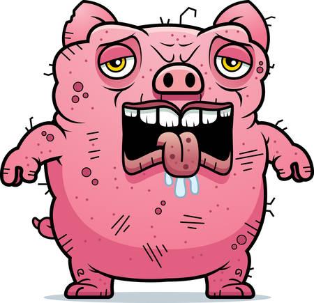 monstrous: Un fumetto illustrazione di un maiale brutta aria stanca.