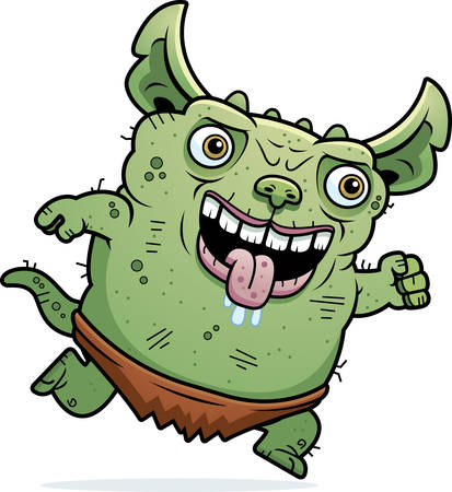 monstrous: A cartoon illustration of an ugly gremlin running.