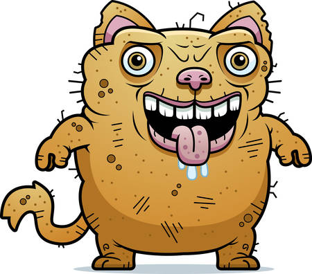 A cartoon illustration of an ugly cat standing.