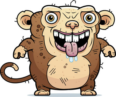 hideous: A cartoon illustration of an ugly monkey standing. Illustration