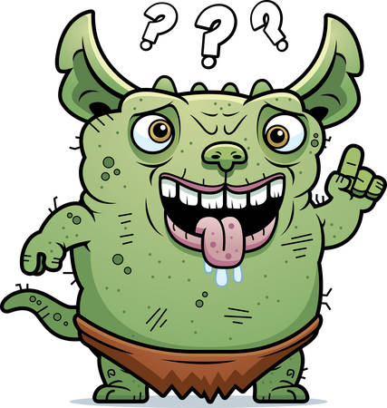 monstrous: A cartoon illustration of an ugly gremlin looking confused.