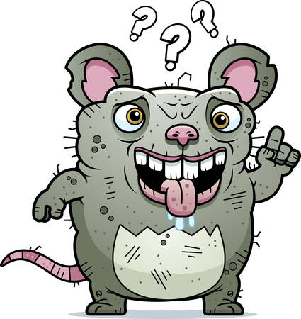A cartoon illustration of an ugly rat looking confused.