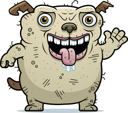 A cartoon illustration of an ugly dog waving.