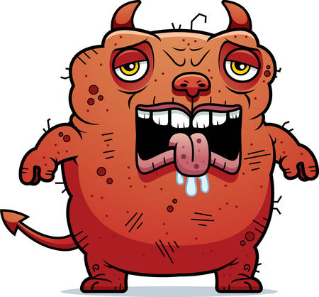 beastly: A cartoon illustration of an ugly devil looking tired. Illustration