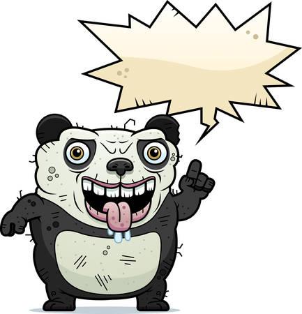 A cartoon illustration of an ugly panda bear talking.