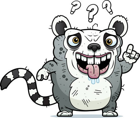 beastly: A cartoon illustration of an ugly lemur looking confused.