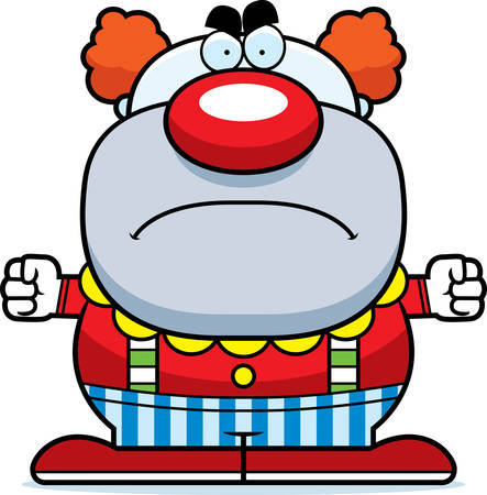 A cartoon illustration of a clown looking angry.