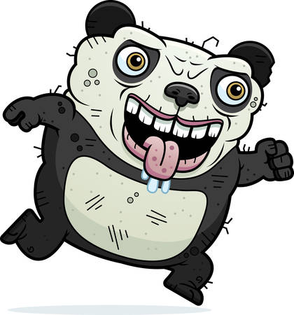 beastly: A cartoon illustration of an ugly panda bear running.