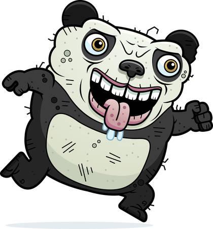 monstrous: Un fumetto illustrazione di un brutto orso panda esecuzione.