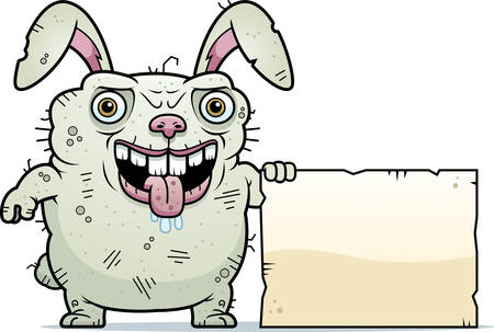 beastly: A cartoon illustration of an ugly bunny with a sign.