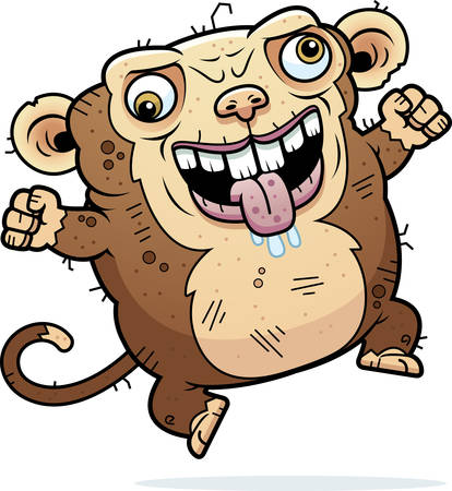 hideous: A cartoon illustration of an ugly monkey looking crazy.