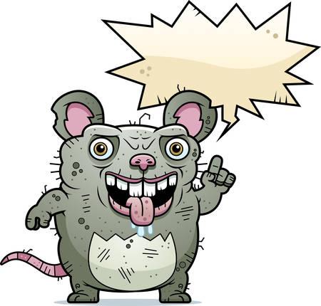 A cartoon illustration of an ugly rat talking.