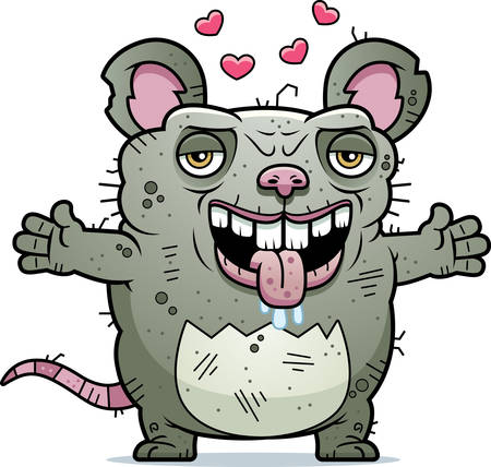 beastly: A cartoon illustration of an ugly rat ready to give a hug. Illustration
