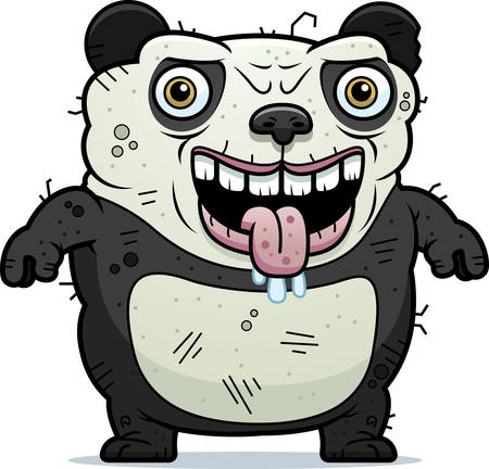 hideous: A cartoon illustration of an ugly panda bear standing.