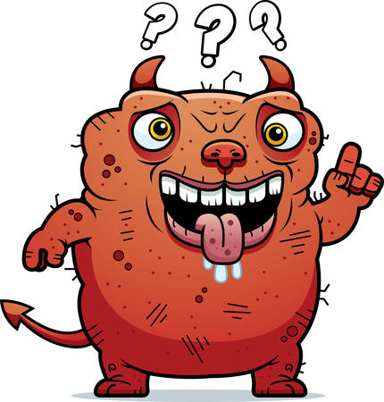 beastly: A cartoon illustration of an ugly devil looking confused. Illustration