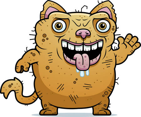 monstrous: A cartoon illustration of an ugly cat waving.