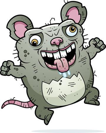 monstrous: Un fumetto illustrazione di un brutto topo cercando pazzo.