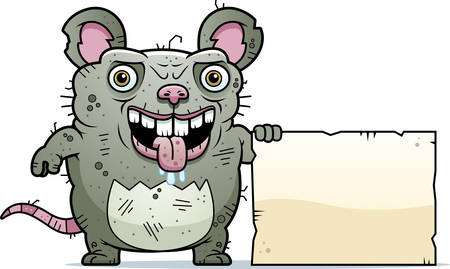 hideous: A cartoon illustration of an ugly rat with a sign. Illustration