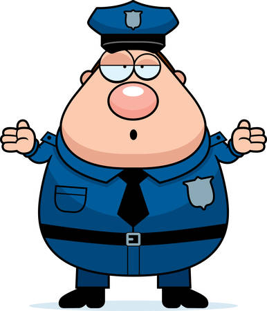 A cartoon illustration of an police officer looking confused.