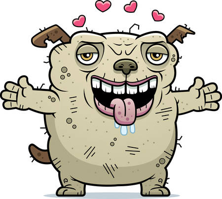 beastly: A cartoon illustration of an ugly dog ready to give a hug.