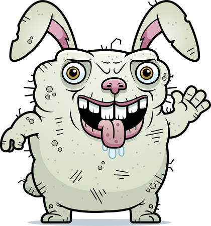 unattractive: A cartoon illustration of an ugly bunny waving. Illustration