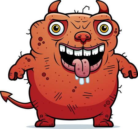 A cartoon illustration of an ugly devil standing. Illustration