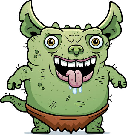 beastly: A cartoon illustration of an ugly gremlin standing.