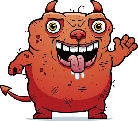 beastly: A cartoon illustration of an ugly devil waving.