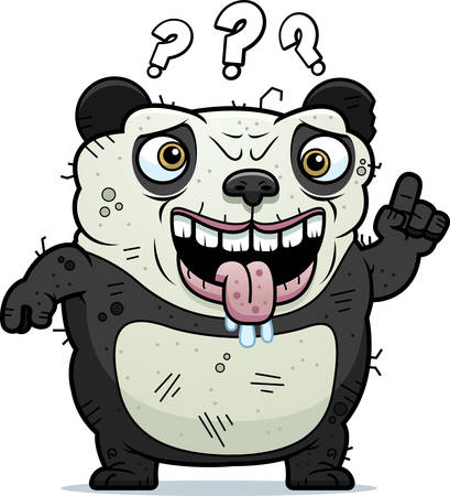 unattractive: A cartoon illustration of an ugly panda bear looking confused.