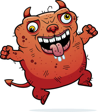 A cartoon illustration of an ugly devil looking crazy.