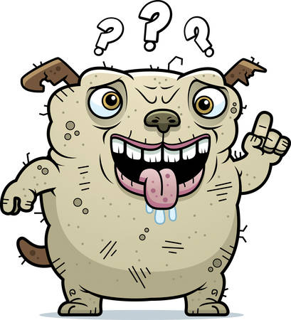 beastly: A cartoon illustration of an ugly dog looking confused.
